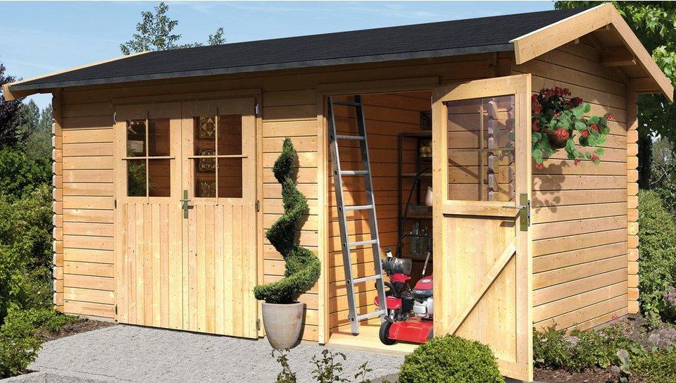 KARIBU Gartenhaus »Wetrup 1«, BxT: 400x280cm, 28 mm in natur