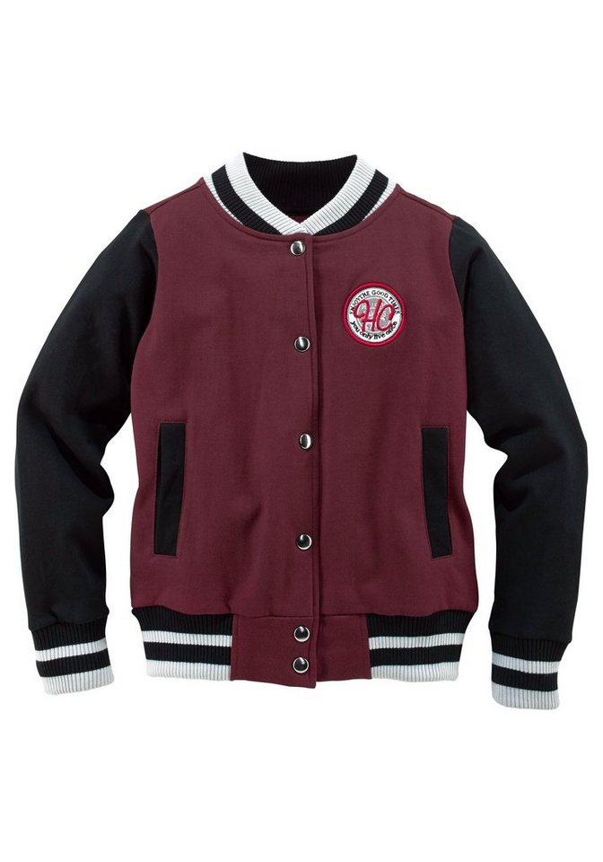 Arizona Sweatjacke in Collegeform in bordeaux-rot
