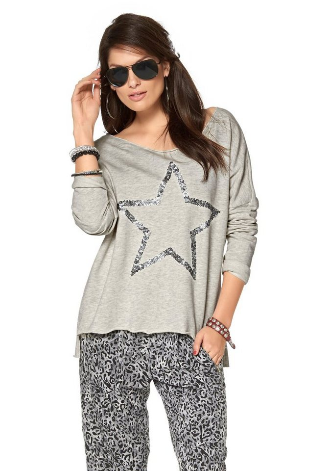 Aniston Sweatshirt im Vokuhila-Style in grau