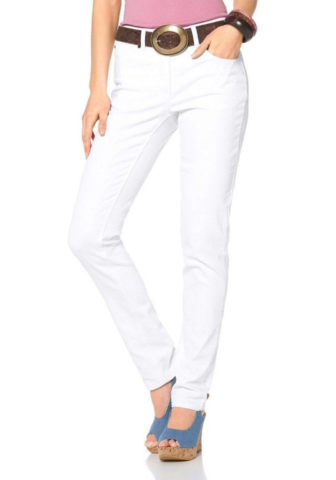 Cheer Slim-fit-Jeans mit bestickten Gesäßtaschen in weiß