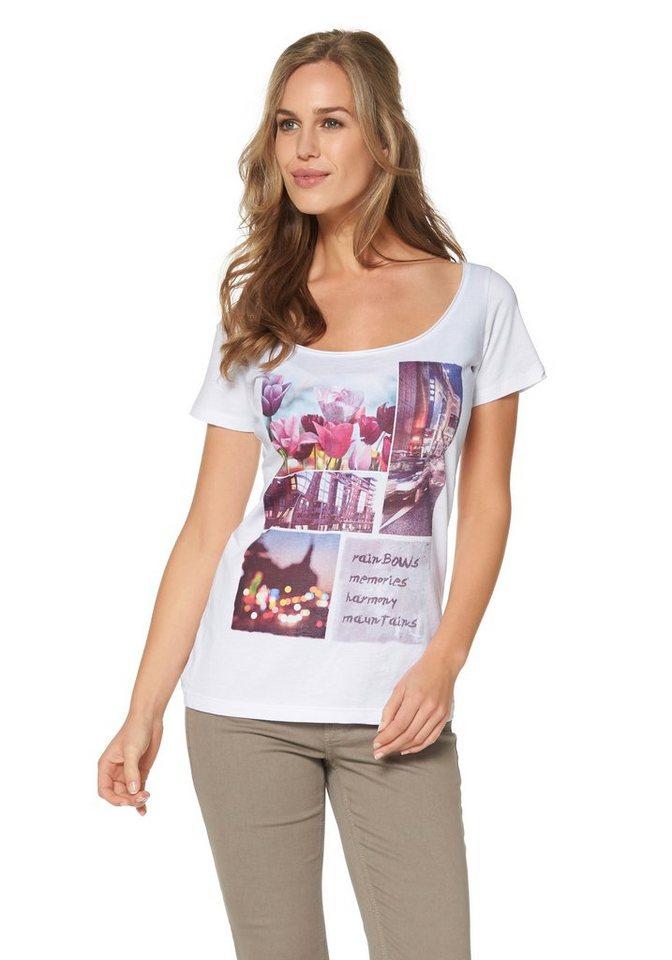 Cheer Print-Shirt in weiß-rot-braun-gelb-bedruckt