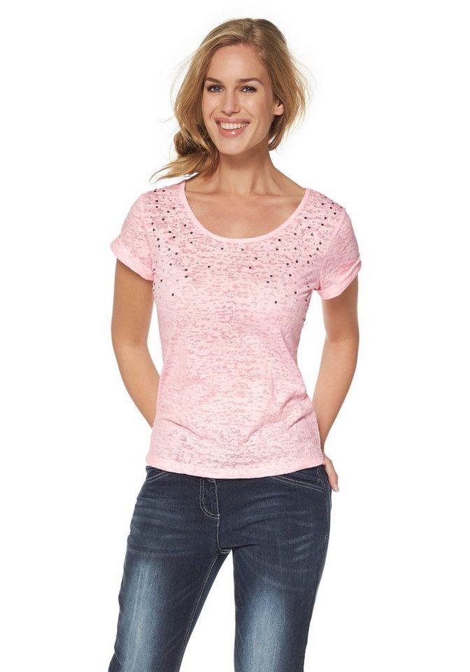 Cheer Rundhalsshirt mit Nietenverzierung in rosé