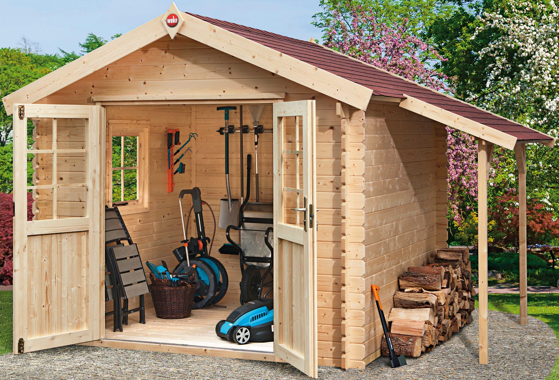 WEKA Sparset: Gartenhaus »Jens Gr. 2«, Gesamtmaß (BxT): 416x280 cm, Inkl. Anbau + Fußboden