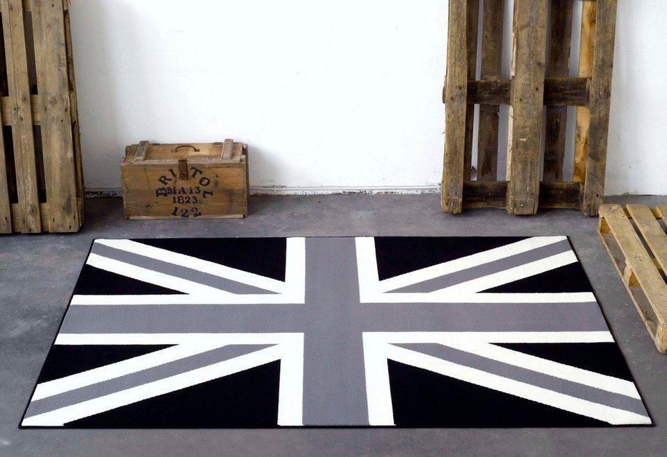 Designteppich »Union Jack Schwarz Creme«, Hanse Home, rechteckig, Höhe 9 mm in schwarz-natur-blau