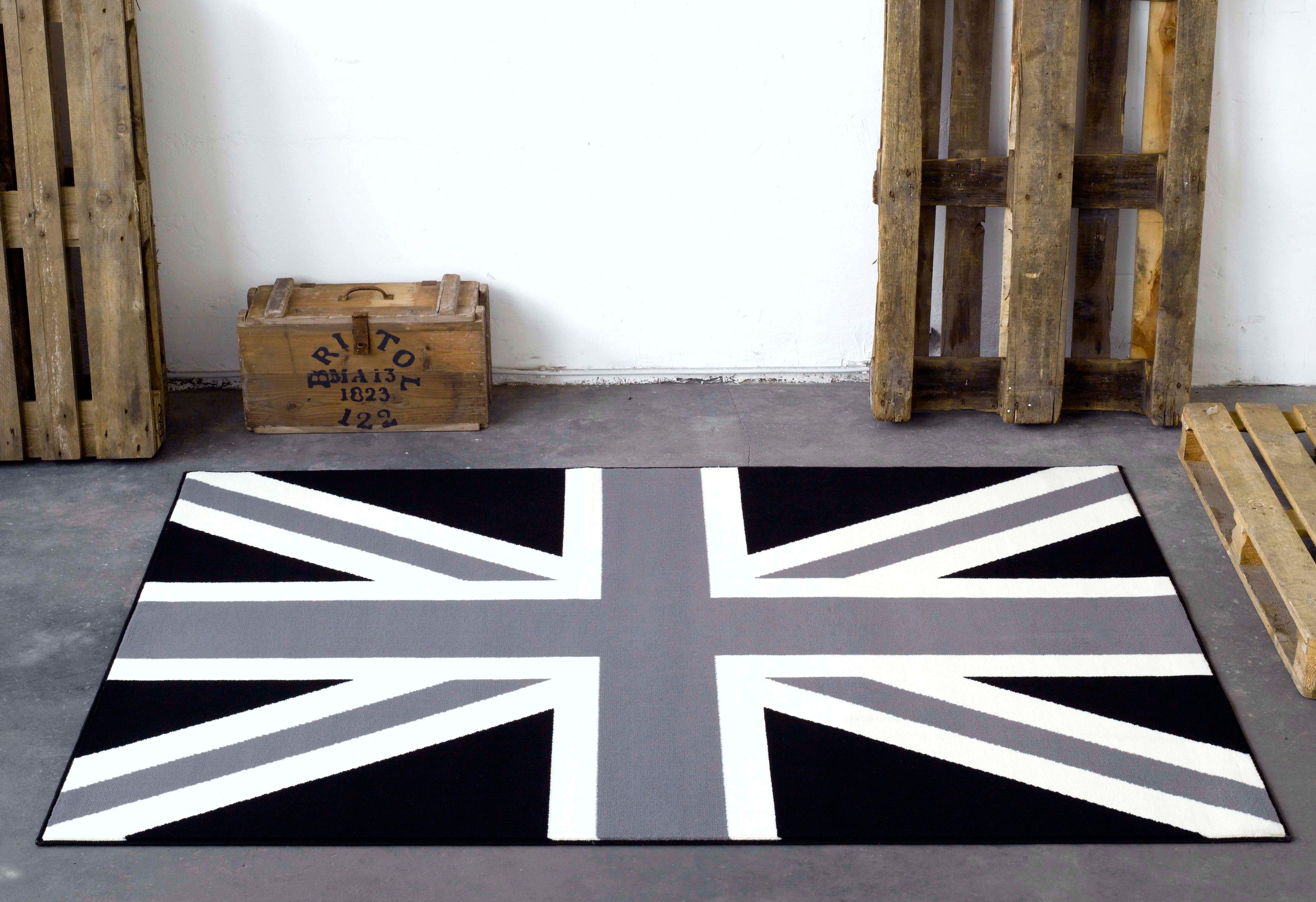 Designteppich »Union Jack Schwarz Creme«, Hanse Home, rechteckig, Höhe 9 mm