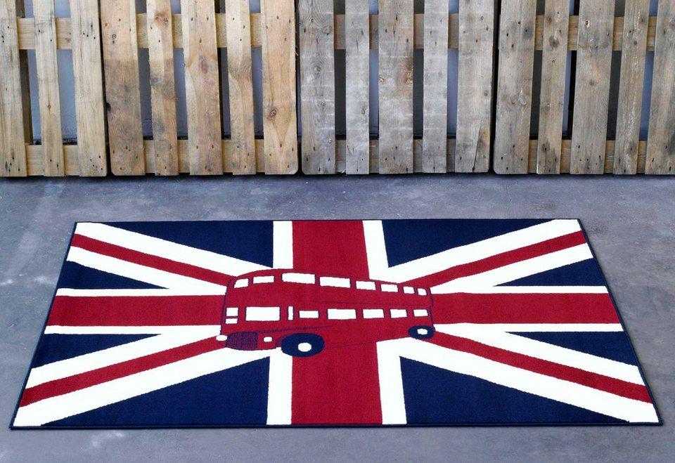 Design-Teppich, Hanse Home, »Union Jack Bus«, modern, gewebt, Motiv-Druck in Blau Rot Creme