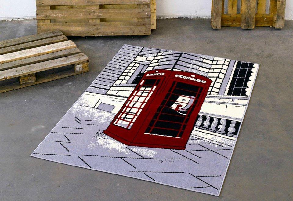Design-Teppich, Hanse Home, »Telefonzelle«, modern, gewebt, Motiv-Druck in Grau Rot