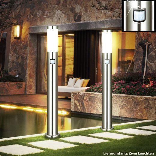 etc-shop LED Außen-Stehlampe, 2er Set Steh Leuchte Außen Garten Rasen Strahler Bewegungsmelder im Set inklusive LED Leuchtmittel