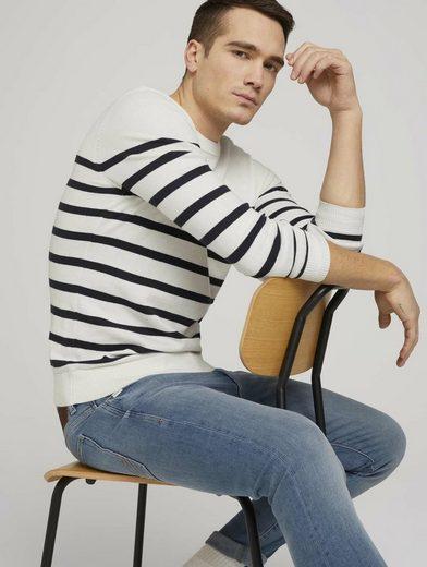 TOM TAILOR Strickpullover »gestreifter Pullover mit Bio-Baumwolle«