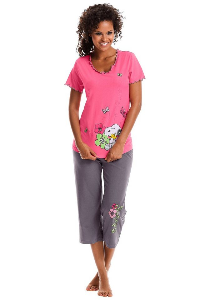 PEANUTS Legerer Capripyjama mit verspieltem Snoopyprint in pink-anthrazit