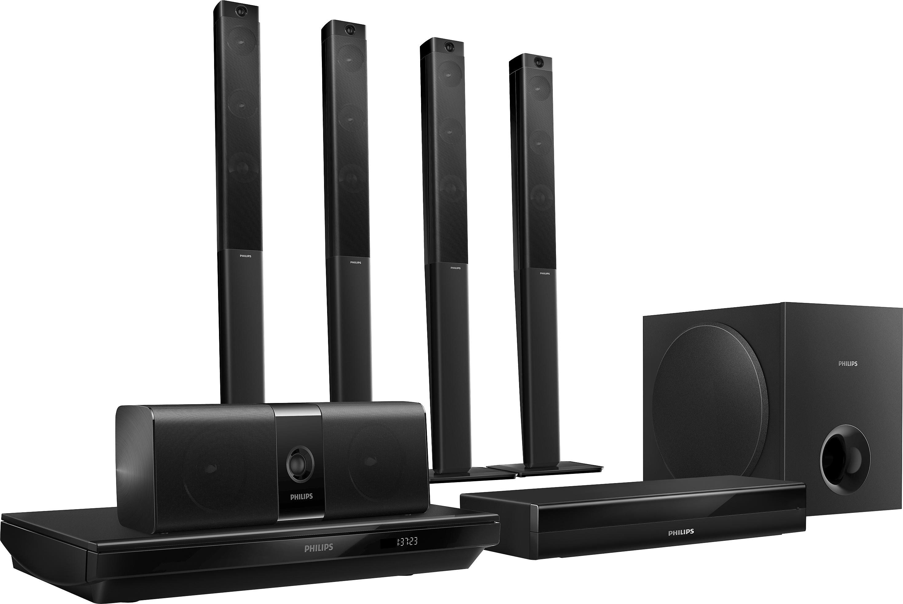 Philips HTB5580G/12 Heimkinosystem, Blu-ray-Player, 1.000 W, 3D-fähig, WLAN, NFC, Bluetooth