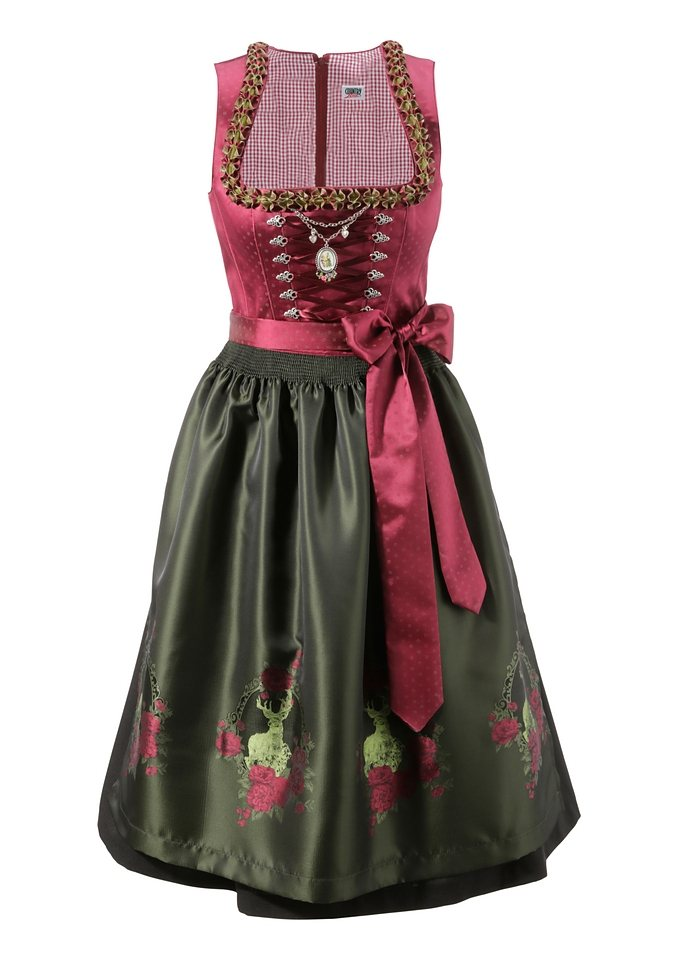 Dirndl, Country Line in bordeaux-tanne