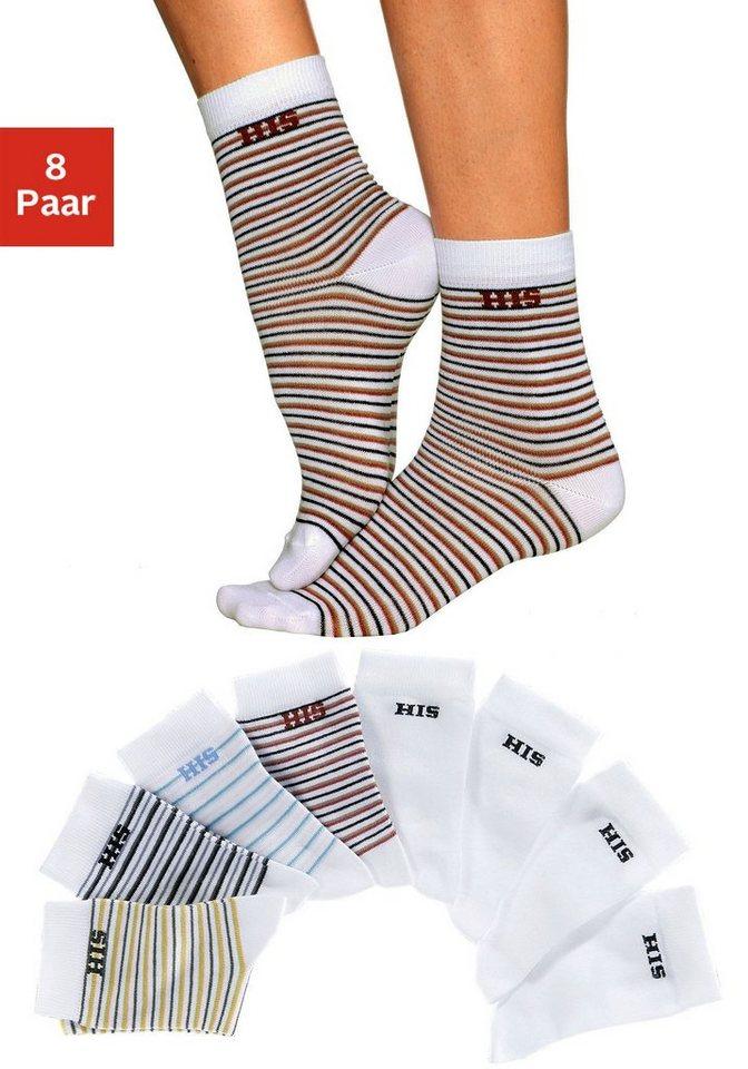 H.I.S Socken (8 Paar) geringelt und uni in 4x hell geringelt + 4x uni