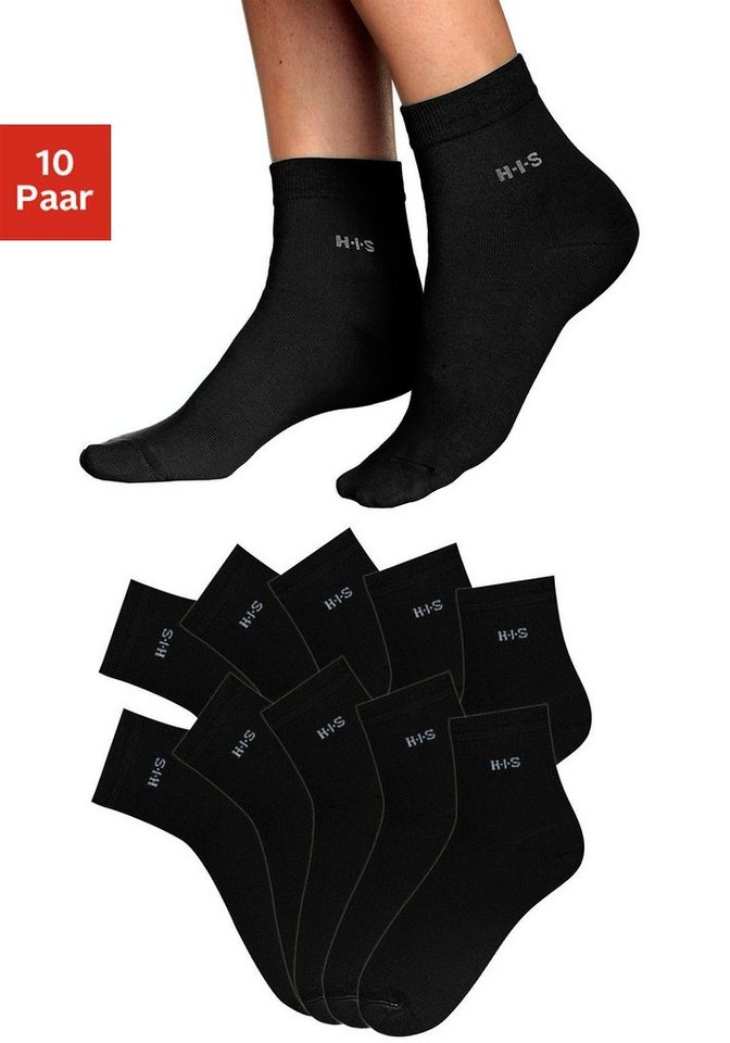 H.I.S Kurzsocken (10 Paar) aus leichter atmungsaktiver Qualität in 10x schwarz
