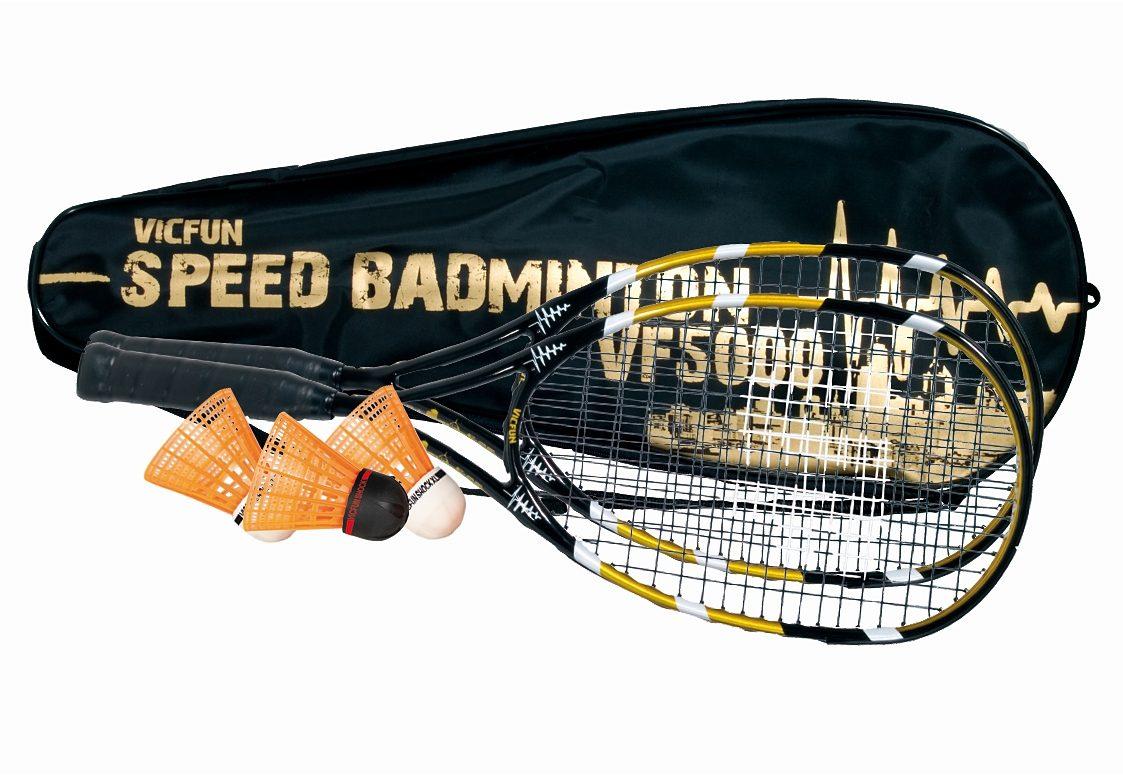 Speedbadminton-Set inkl. 2 Schläger und 2 Vicfun Schmettbällen, komplett besaitet, VICFUN