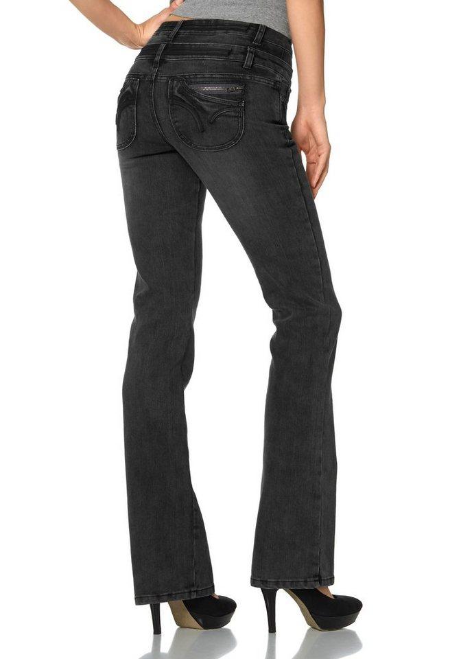Arizona Bootcut-Jeans »Push-up« mit doppeltem Bund in black-used