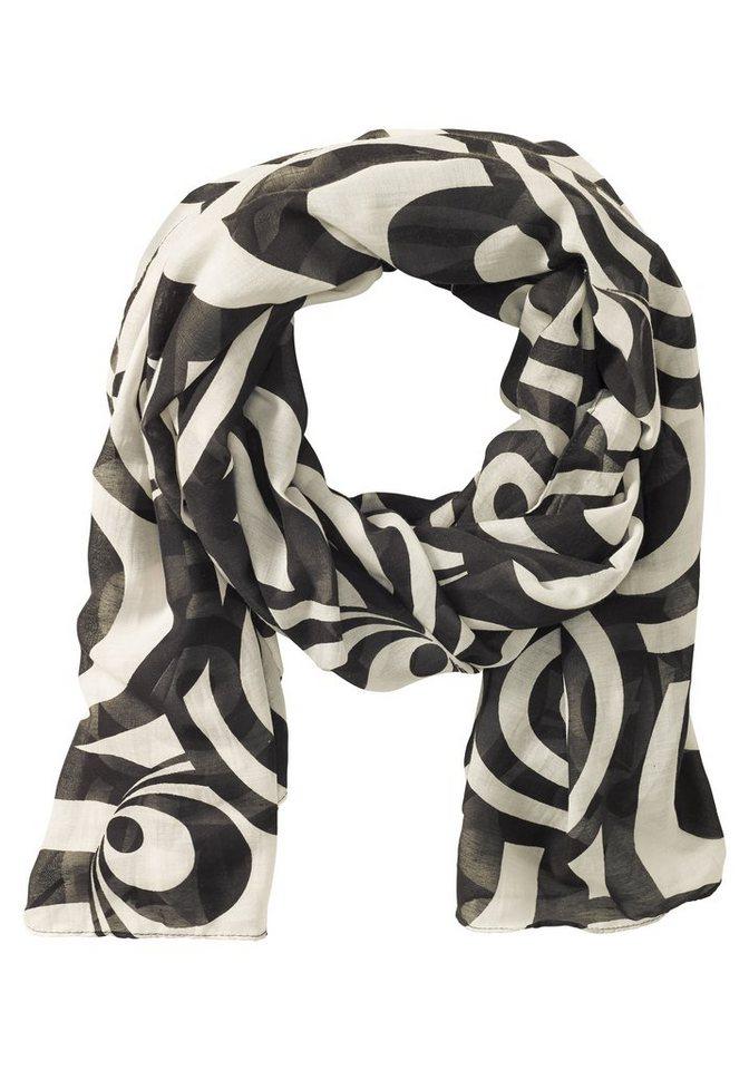 sheego Schal mit Kreis-Muster in schwarz-wollweiß