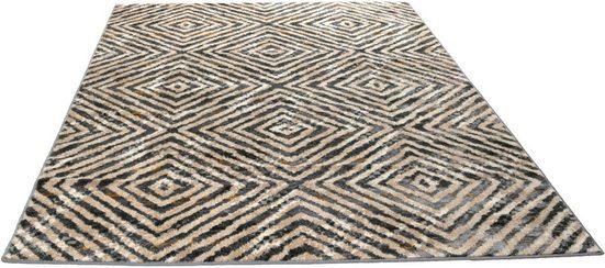 Teppich »Allegri Rauten«, Living Line, rechteckig, Höhe 11 mm, leichte Hoch-Tief Effekte, Wohnzimmer