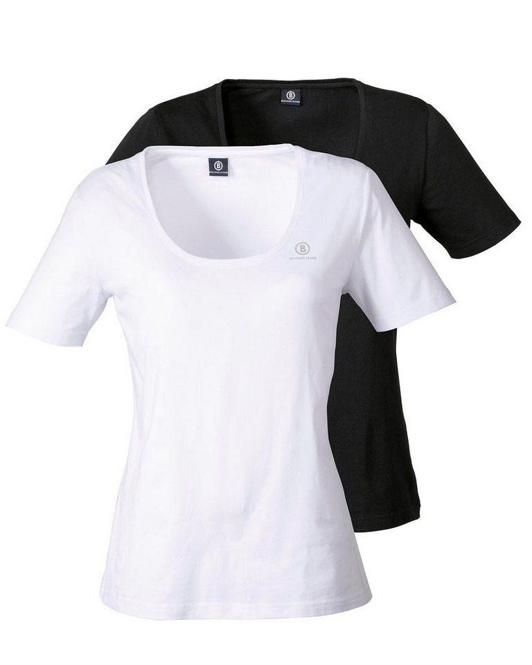 Bogner Jeans Shirt im Doppelpack in Weiß+Schwarz