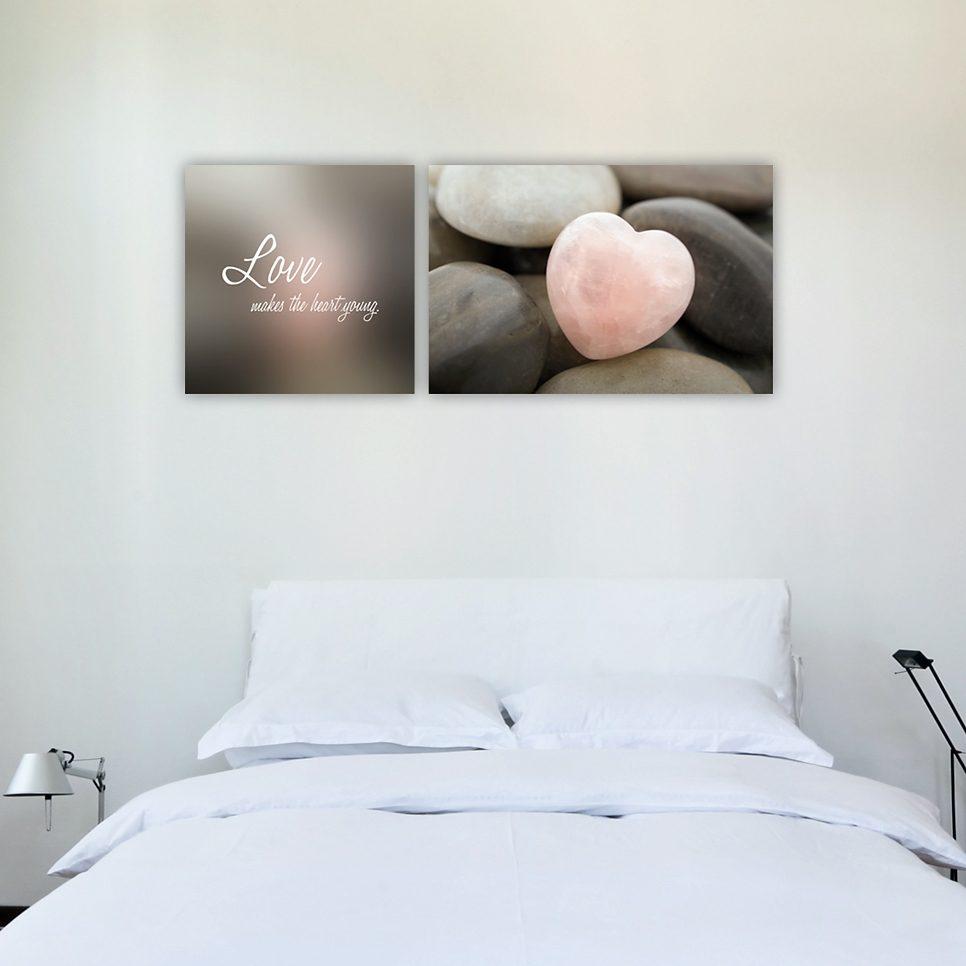 Leinwandbild, Home affaire, »Love makes the heart young«, Maße (B/H): 150/60 cm