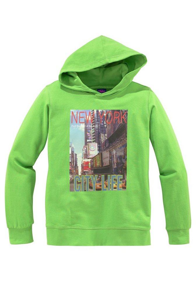 """Buffalo Kapuzensweatshirt """"NEW YORK"""" in limette"""