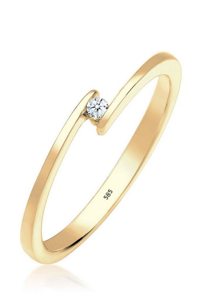 Diamore Ring »Solitär Verlobung Diamant 0.03 ct. 585 Gelbgold« in Gold