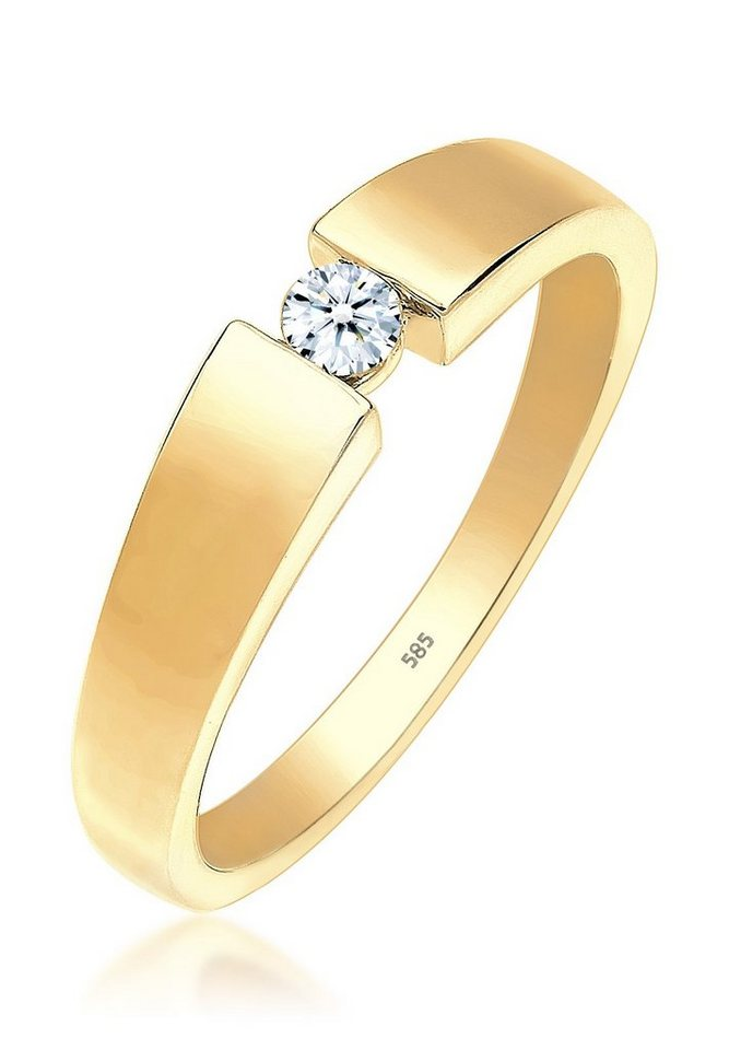 DIAMORE Ring »Verlobung Diamant 0.10 ct. 585 Gelbgold« in Gold