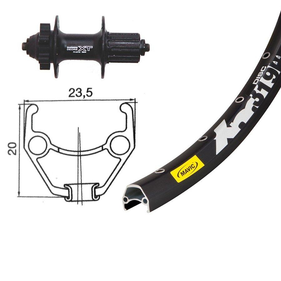 Bike-Parts Laufrad »H-Rad 26 x 1.90, Shimano Deore XT, 8/9-fach«