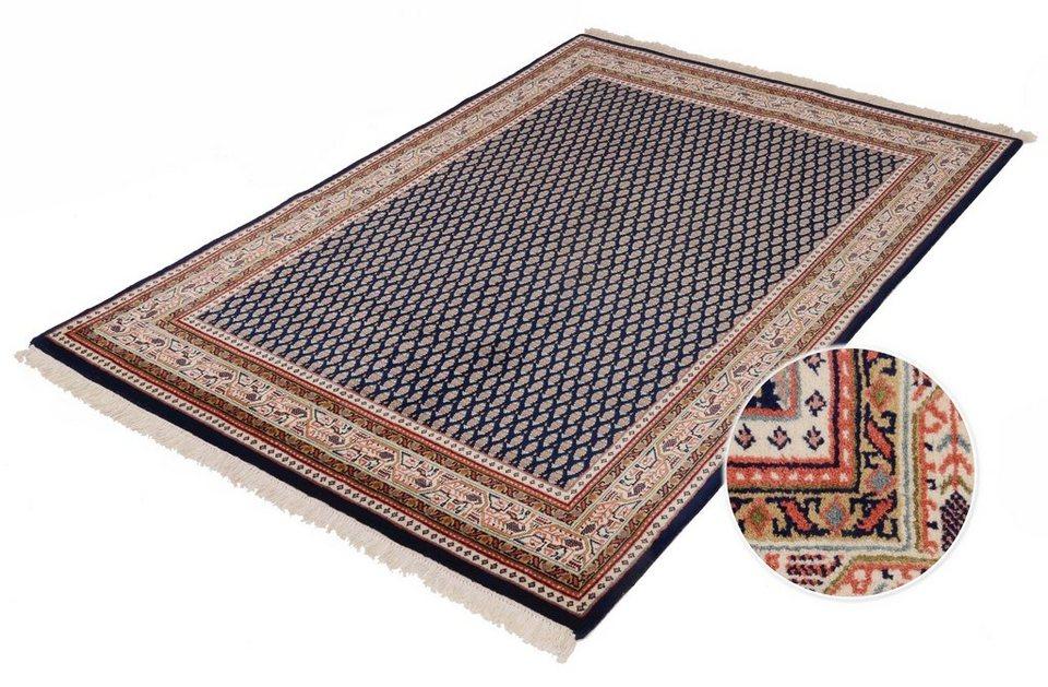 Orient-Teppich, Parwis, »Sarough Mir«, Handgeknüpft, Wolle, 140 000 Knoten/m² , 3 kg/m² in blau