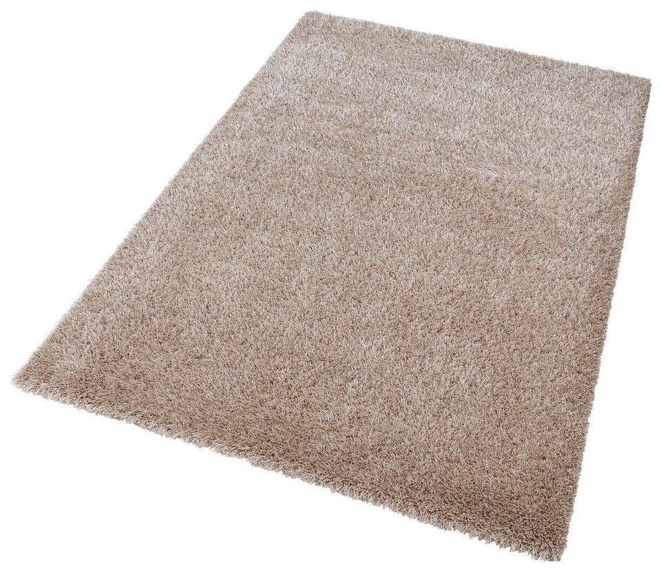 Hochflor-Teppich, Esprit, »Cosy Glamour«, Höhe 40 mm, gewebt mit Melange-Effekt in sand