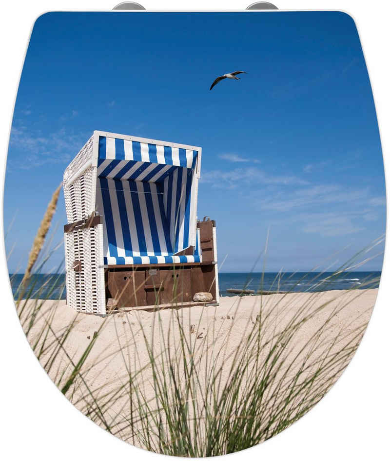 WENKO WC-Sitz »Strandkorb«, Mit Absenkautomatik