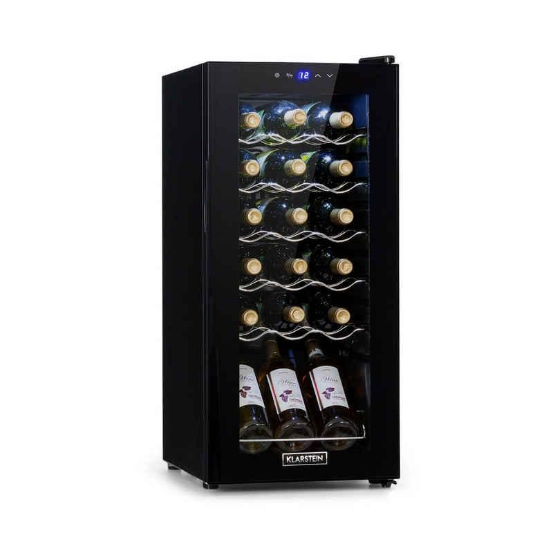 Klarstein Weinkühlschrank Shiraz 18 Slim Uno Weinkühlschrank 50l 18Fl Touch-Bedienfeld 138W 5-18°C, für 18 Standardflaschen á 0,75l