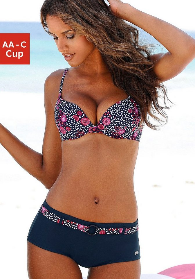 LASCANA Push-up-Top »Flori« in marine-pink