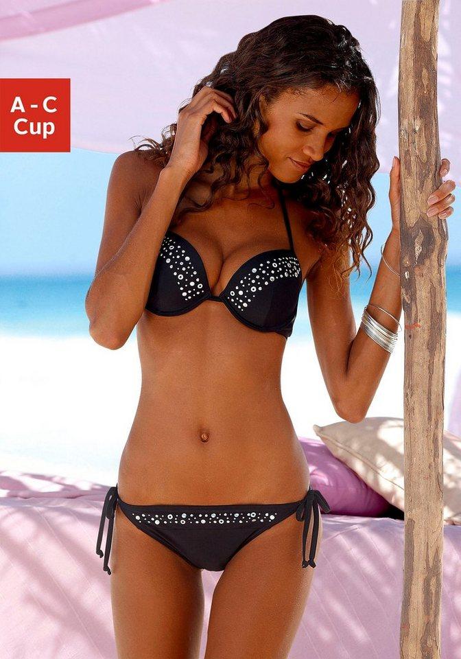 lascana push up bikini mit ziernieten kaufen otto. Black Bedroom Furniture Sets. Home Design Ideas