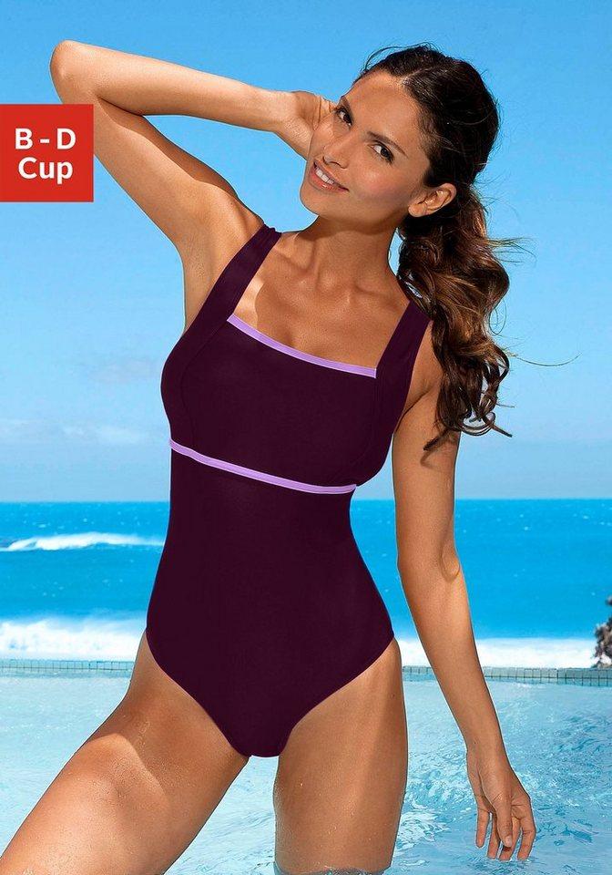 Bademode - LASCANA Badeanzug, mit kontrastfarbenem Einsatz › lila  - Onlineshop OTTO