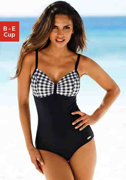 LASCANA Badeanzug mit schwarz-weißen Kontrastdetails