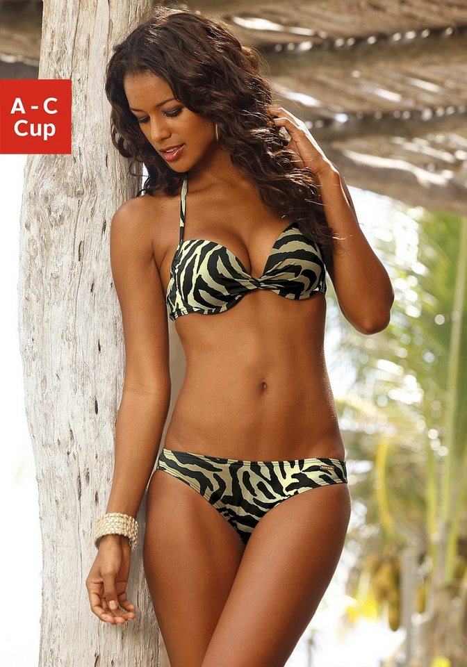 LASCANA Push-up-Bikini in schwarz-creme