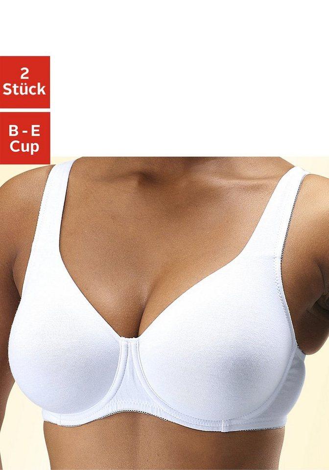 Petite Fleur T-Shirt-BH ohne Schale (2 Stück) in weiß+schwarz
