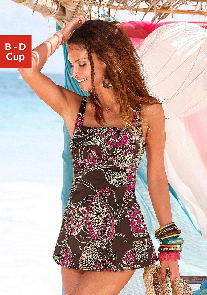 LASCANA Badeanzug-Kleid in braun bedruckt