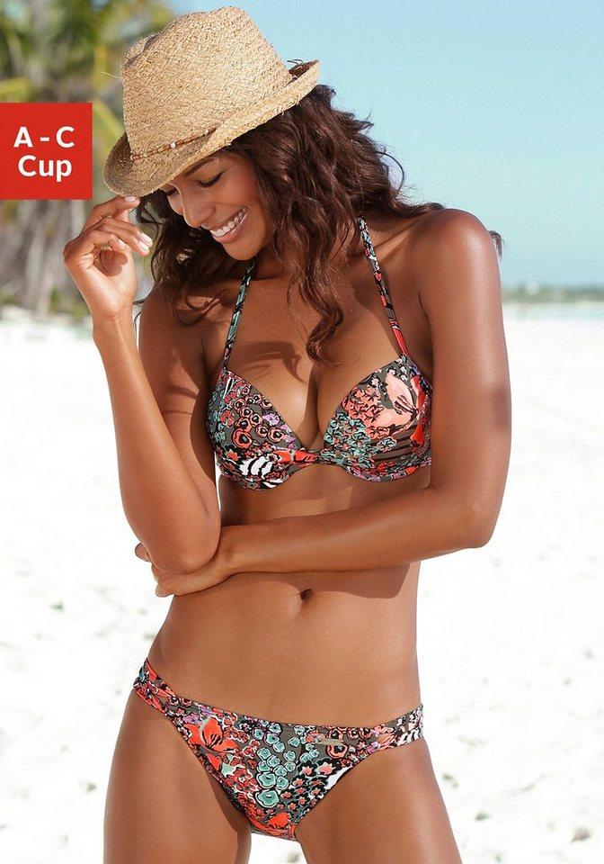 Push-up-Bikini, LASCANA in oliv bedruckt