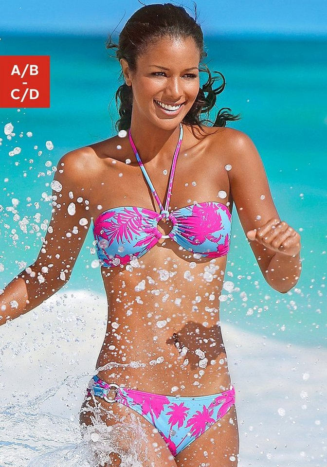 Venice Beach Bandeau-Bikini in pink-blau