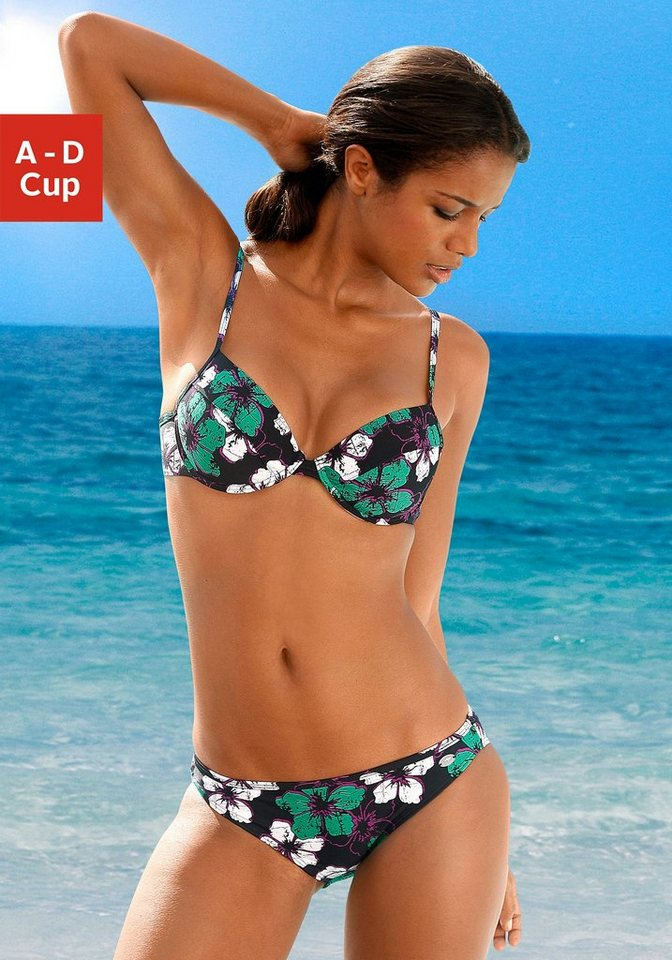 KangaROOS® Push-up-Bikini in schwarz bedruckt