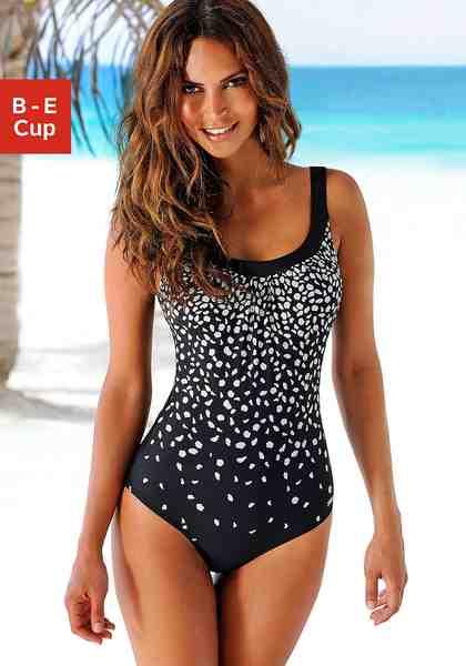 LASCANA Bügel-Badeanzug im modischen Schwarz-Weiß-Design