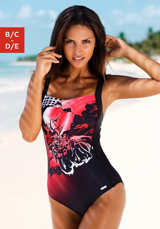 LASCANA Badeanzug in schwarz-rot