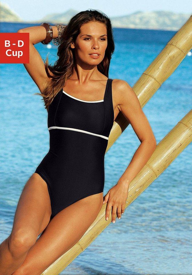 Bademode - LASCANA Badeanzug, mit kontrastfarbenem Einsatz › schwarz  - Onlineshop OTTO
