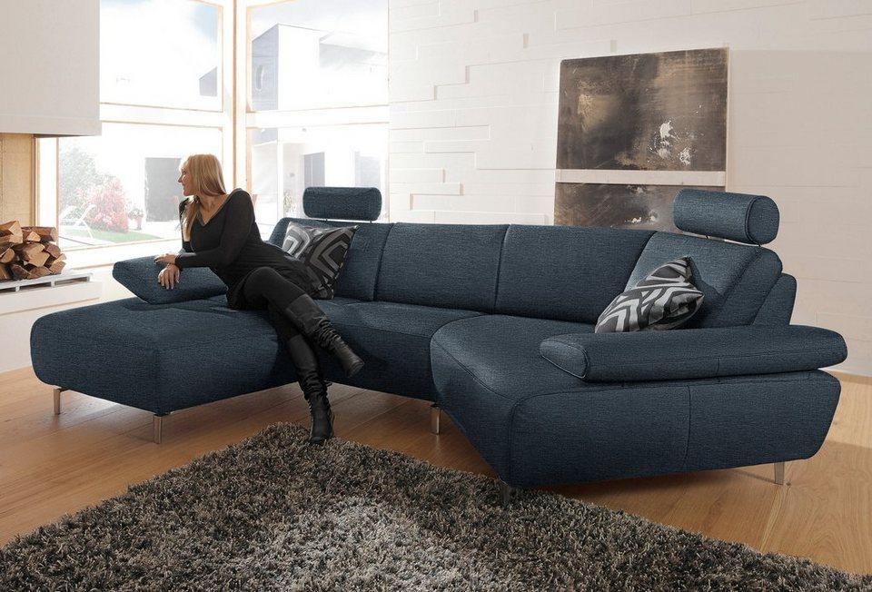 ADA premium Asymmetrische Wohnlandschaft »Rooney«, wahlweise mit Schweberelax-Funktion in dunkelgrau mit blaustich THO 18
