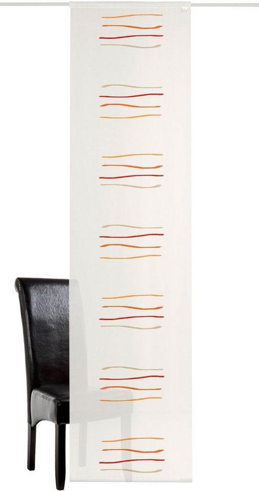 Schiebegardine, Deko Trends, »Samui inkl. Zubehör«, mit Klettband (1 Stück) in wollweiss/rot