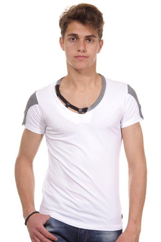 R-NEAL T-Shirt Rundhals slim fit in weiss