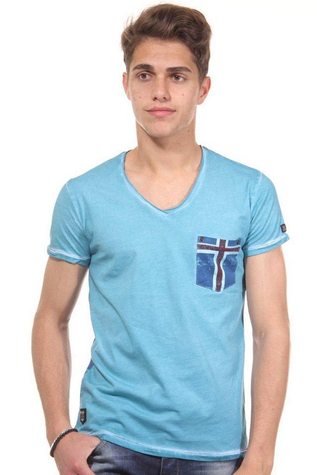 R-NEAL T-Shirt V-Ausschnitt slim fit in türkis