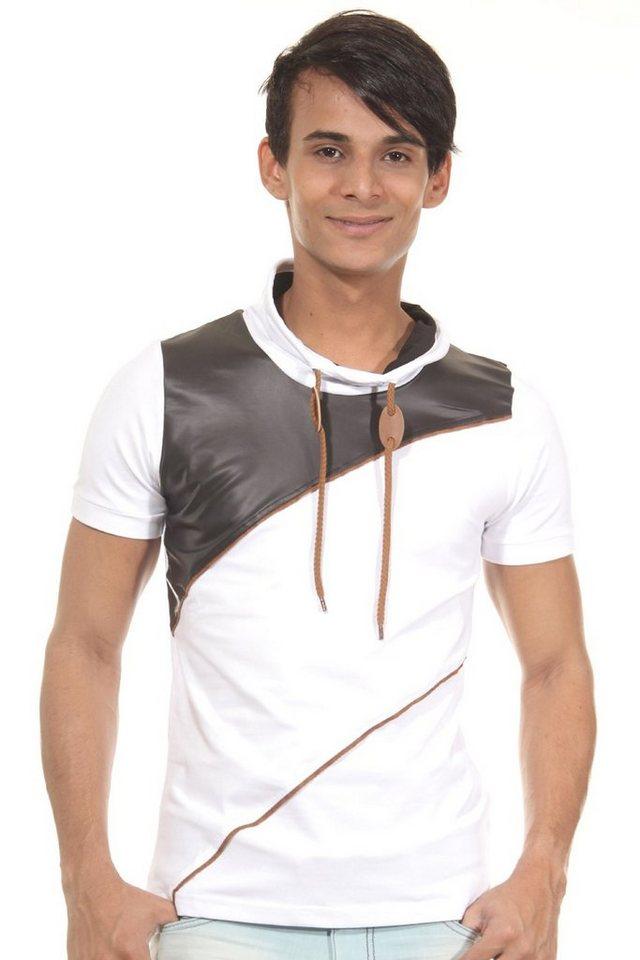 R-NEAL T-Shirt Schalkragen slim fit in weiss